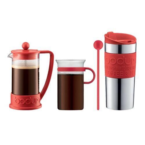 Bodum COFFEESET Kaffeeset: Kaffeebereiter 0.35 l, Travel Mug 0.35 l, Kaffeeglas 0.3 l und Kaffeelöffel 20 cm Rot