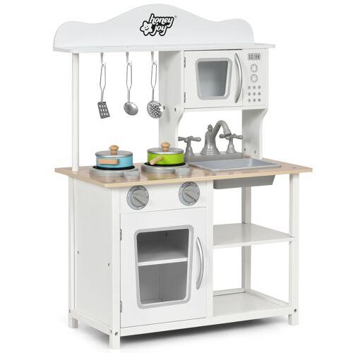 Costway Kinder Spielküche hölzerne Spielküche Küche Set 60 x 30 x 83 cm Weiß