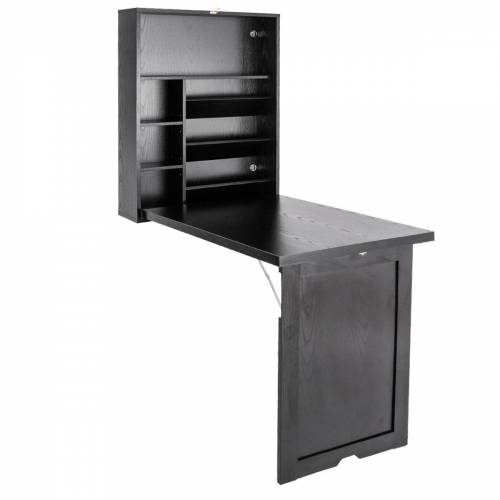 Costway Wandklapptisch Computertisch Klappbarer Wandtisch aus Holz 56,5 x 94,5 x 151 cm Weiß/Schwarz