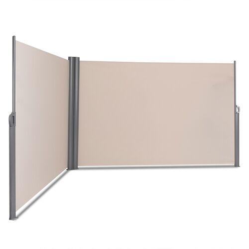 Costway Doppelseitenmarkise Ausziehbare Seitenmarkise Markise Sichtschutz für Garten Beige 6 x 1,8 m