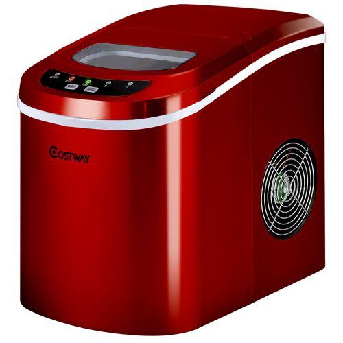 Costway Eiswürfelmaschine Eismaschine inkl. Eiswürfelschaufel Rot/Silber 25 x 36 x 33 cm