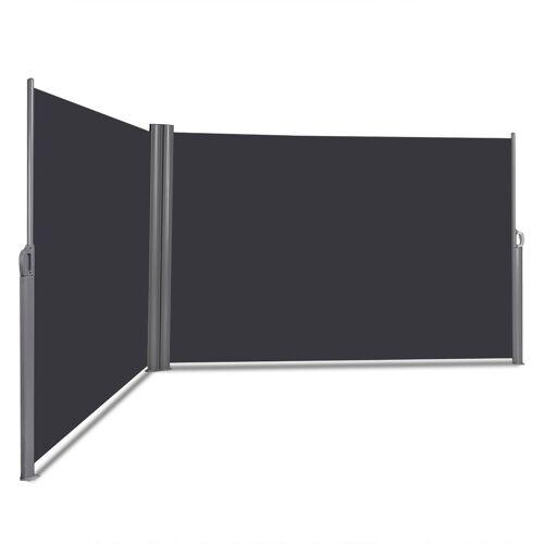 Costway Doppelseitenmarkise Ausziehbare Seitenmarkise Markise Sichtschutz für Garten Grau 6 x 1,6 m