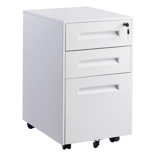 Costway Rollcontainer Bürocontainer Abschließbarer Büroschrankmit 3 Schubladen Schwarz/weiß