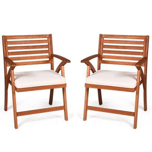 Costway 2er Set Gartenstühle Terrassenstühle Holzstuhl Balkonstuhl Gartensessel mit Kissen