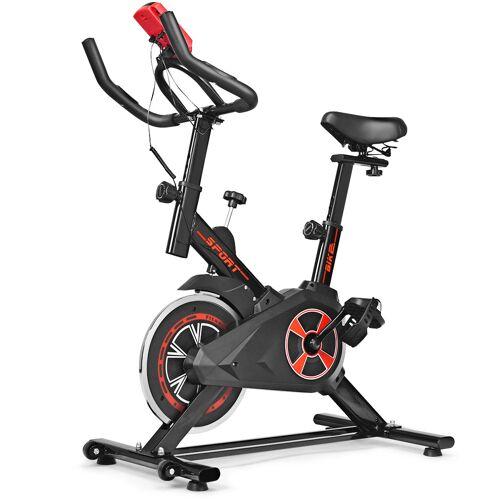 Costway Indoor Fahrrad mit 6KG Schwungrad Heimtrainer Fahrrad LCD-Anzeige Schwarz und Rot