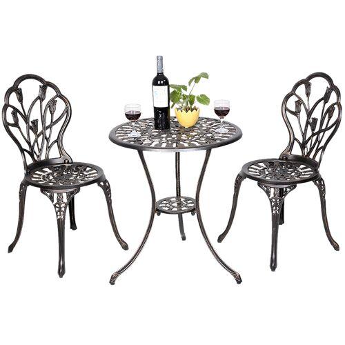 Costway Alu Balkonset Bistroset Gartenmöbel Tisch mit 2 Stühle Sitzgruppe Balkonmöbel