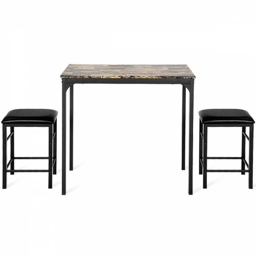 Costway Essgruppe 3 tlg. Esstisch Set Küche Tischgruppe MDF