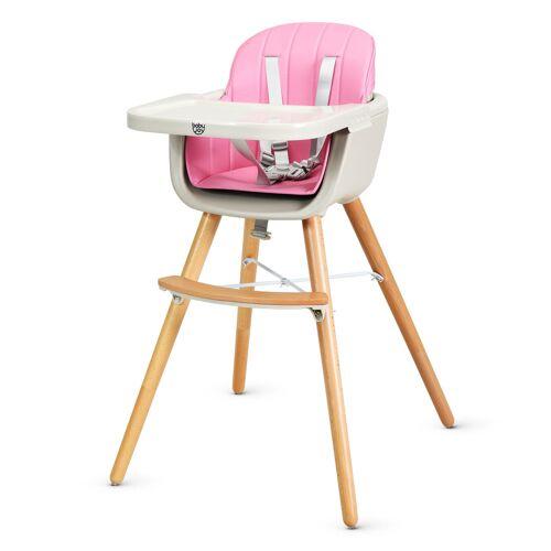 Costway Babyhochstuhl Kinderhochstuhl Baby Treppenhochstuhl mit Einstellbares Esstischchen Holz Beige/Rosa