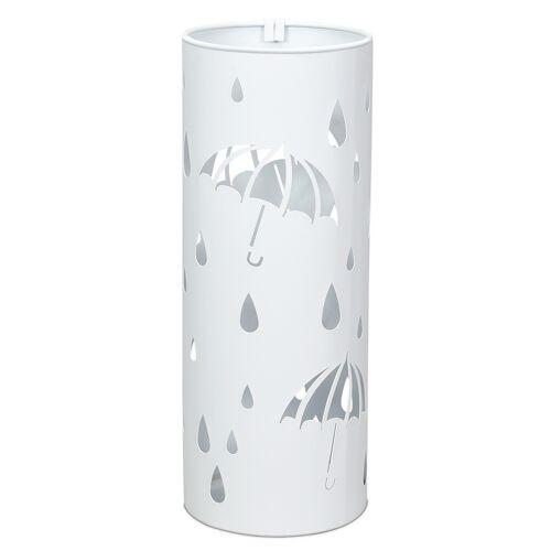 Costway Regenschirmständer Rund Schirmständer Schirmhalter mit 2 Haken 19 x 19 x 50 cm Weiß/Schwarz Metall