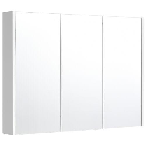 Costway Badezimmer Spiegelschrank 3 Türen Wandschrank Badezimmerspiegel Weiß 90 x 11 x 65 cm