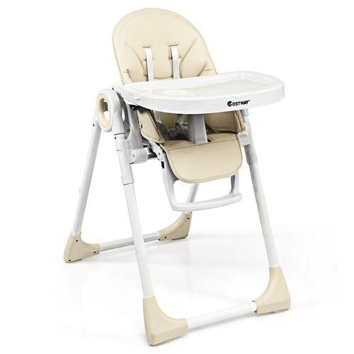 Costway Kinderhochstuhl 2 in 1 Klappbarer Hochstuhl Babystuhl mit Ess-& Spielablage Rosa/Blau/Beige