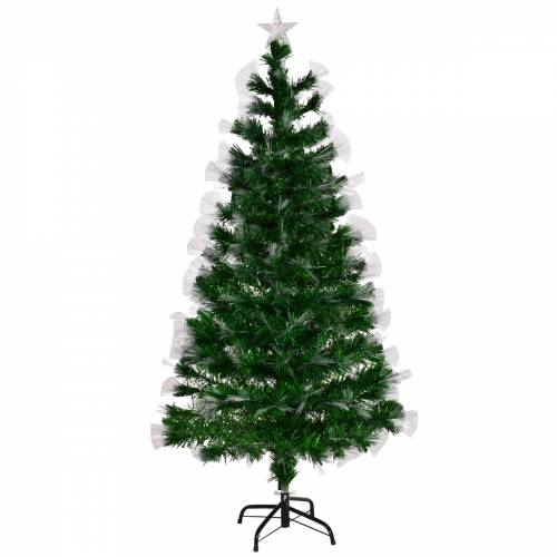 Costway Christbaum LED 150/180/210 cm Künstlicher Weihnachtsbaum mit Glasfaser-Farbwechsler Grün