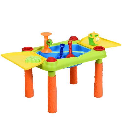 Costway 2-in-1 Sand- & Wasserspieltisch Sandkastentisch Spieltisch Sandkasten Spielzeug für innen- & Außen für Kinder 18-teilig