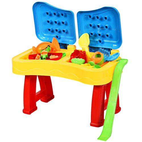 Costway 2-in-1 Sand- & Wasserspieltisch Sandkastentisch Spieltisch Sandkasten Spielzeug für innen- & Außen für Kinder 31-teilig