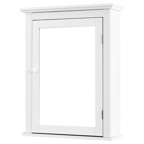 COSTWAY Spiegelschrank Bad Wandschrank mit Spiegel Badezimmerspiegelschrank weiß Hängeschrank Holz