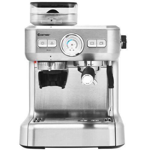 Costway Espresso Maschine Automatische Kaffeemaschine Siebträgermaschine Siebträger 2L Wassertank Silber