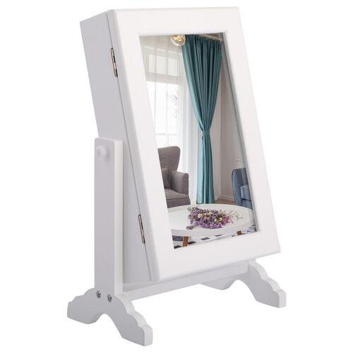 Costway Schmuckschrank Schmuckregal Standspiegel mit Spiegel 23 x 14 x 34,5 cm