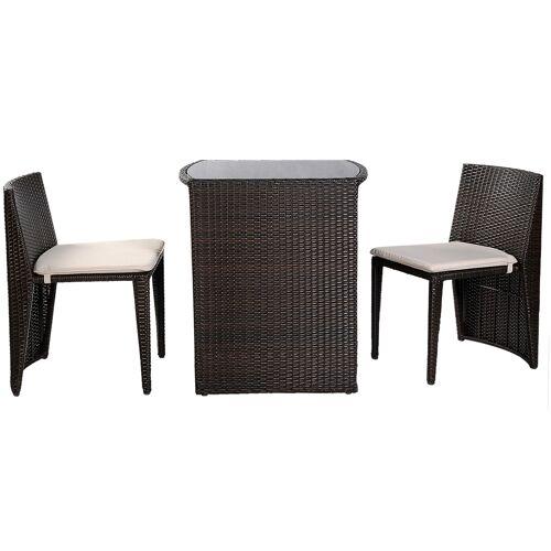 Costway Gartenmöbel Rattan Lounge 3er Set Polyrattan Sitzgruppe Rattanmöbel Garnitur