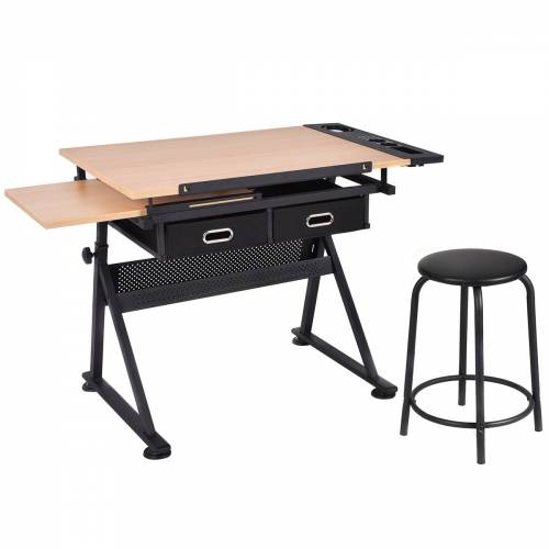 Costway Schreibtisch Zeichentisch Architektentisch Maltisch neigbar + Schubladen/Hocker