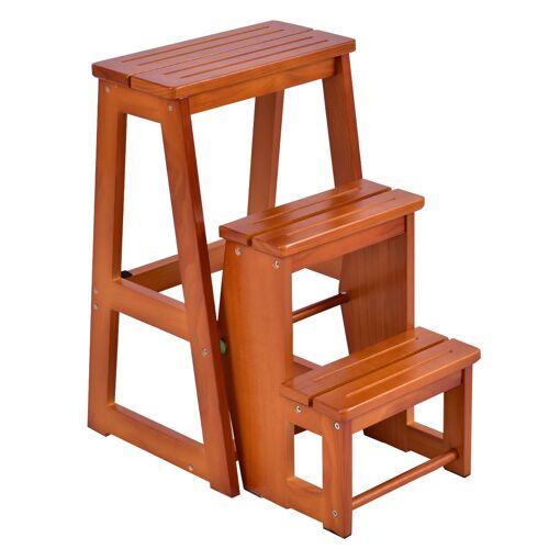Costway Stuhlleiter Leiter Stuhl Hockerleiter Trittstuhl Tritthocker Trittleiter klappbar 3 Stufen Ziegelrot
