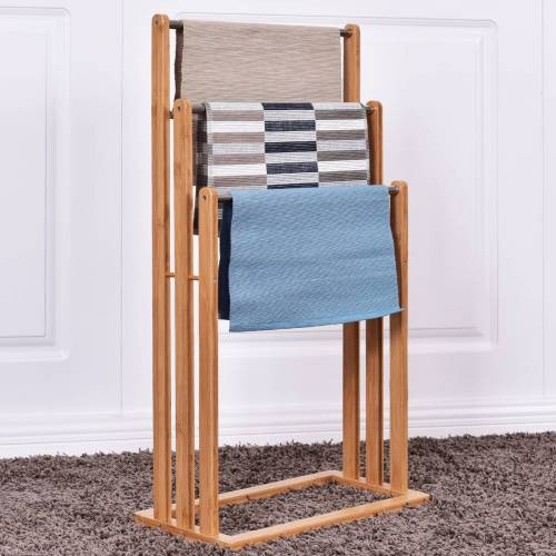 Costway Handtuchhalter Handtuchständer Standhandtuchhalter 3 Stangen Freistehend Bambus