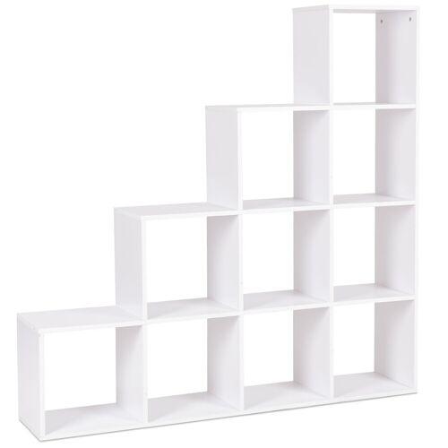 Costway 10 Fächer Weiß Holz Treppenregal Bücherregal