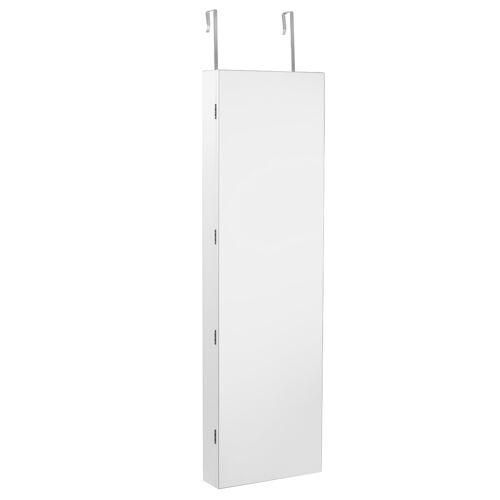 Costway Schmuckschrank Wandspiegel mit LED Beleuchtung Spiegelschrank 120 x 35,5 x 10 cm Schwarz/Weiß