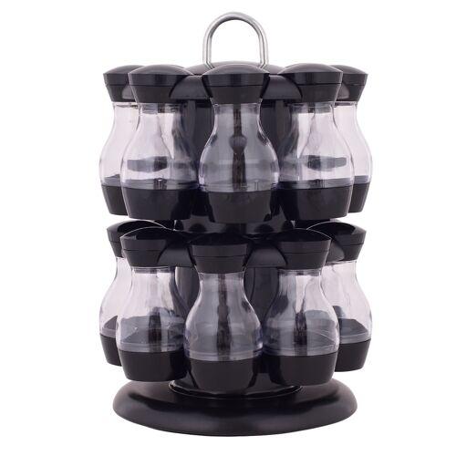COSTWAY ABS Drehbares Tragbares Gewürzregal mit 16 Gewürzdosen