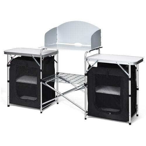 Costway Campingküche 4 Fächer & 3 Bretter Reiseküche Campingschrank Stoffschrank Faltschrank Küchenbox Alu mit Tragetasche