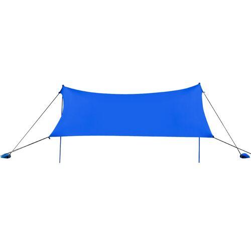 Costway Sonnensegel Camping Sonnenschutz mit 4 Sandsäcken und 2 Alustangen Lycra Sonnendach Blau
