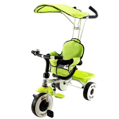 Costway 4 in 1 Kinderdreirad Kinderfahrrad Kinderwagen Dreirad Schiebewagen mit Sonnendach