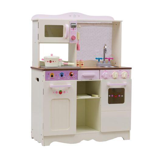 COSTWAY 70 x 35 x 97 cm Holz Kinderküche Spielküche Spielzeugküche mit Zubehör