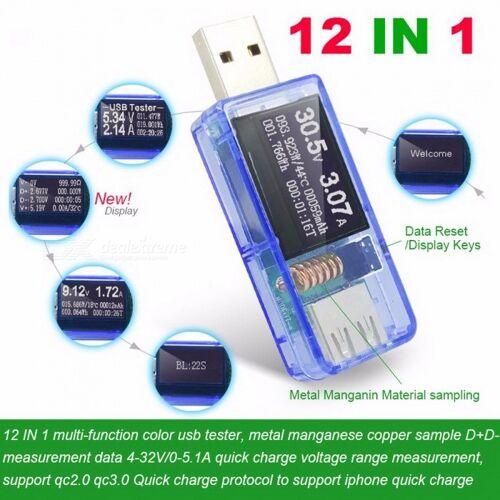 ATORCH 12 In 1 USB Tester DC Digital Voltmeter Amperimetro Spannung Stromzähler Amperemeter Detektor Bank Ladegerät