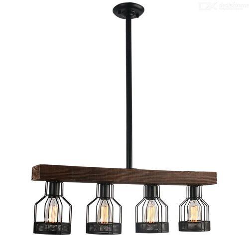 Moderner Vintage-Stil E26 4-Kopf-Holz-Kronleuchter Decke Hängende Lampe Für Wohnzimmer / Esszimmer / Restaurant