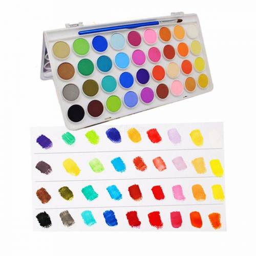 36 Farben Reisen Feste Aquarellfarben Set Tragbare Kunststoff-Box Aquarell Kuchen Kunstbedarf Für Kinder