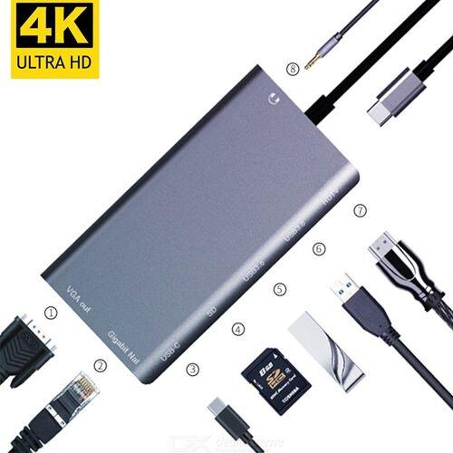 8 In 1 USB C Hub, Typ C Auf 4K HDMI VGA 2 USB 3.0 SD PD Gigabit Netzwerkadapter