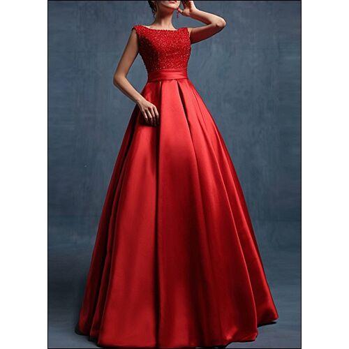 Lafanta Rotes bodenlanges Hochzeitskleid aus Satin
