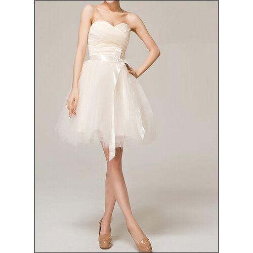 Lafanta Knielanges Tüll-Brautkleid mit Korsage und Schleife