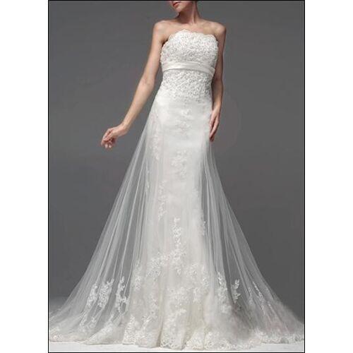 Lafanta Elegantes Empire Brautkleid aus Tüll mit Schleppe