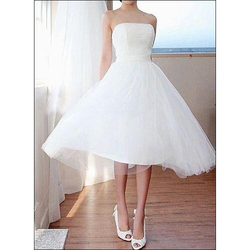 Lafanta Schlichtes Tüll Brautkleid für das Standesamt Wadenlang