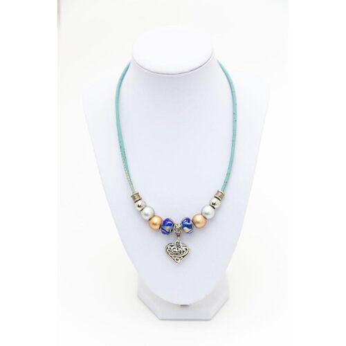 Syloschmuck Trachtenkette aus Kork in blau mit einem Herz