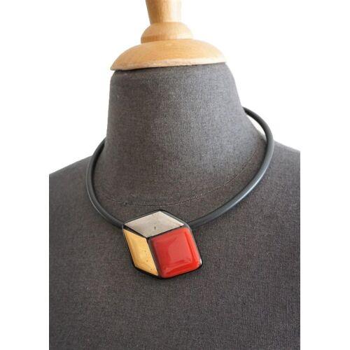 Design Elena Glaswürfel Rot Gold Silber