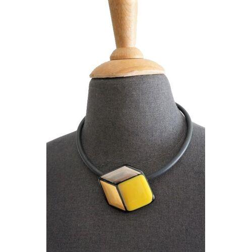 Design Elena Glaswürfel Gelb Gold Silber