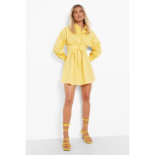 boohoo Womens Geschnürtes Hemd-Kleid Mit Korsett-Detail - Zitronengelb - L, Zitronengelb