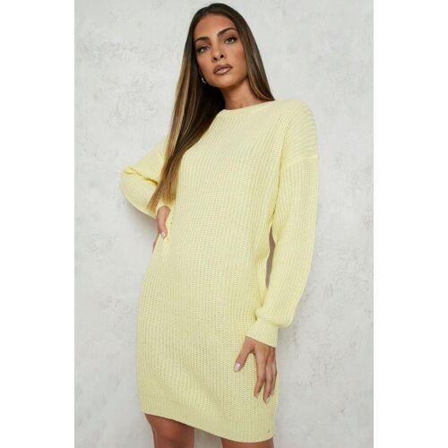 boohoo Womens Pullover Kleid Mit Crew Ausschnitt - Zitronengelb - M/L, Zitronengelb