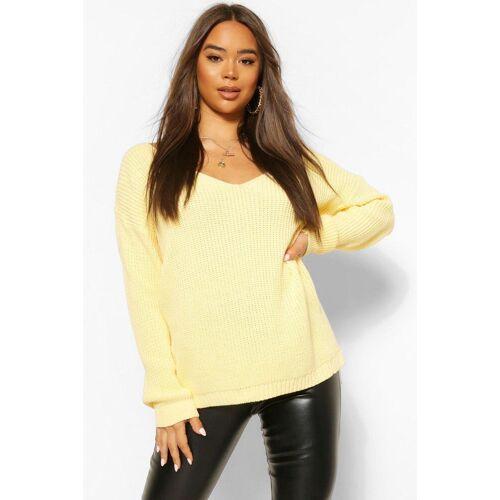 boohoo Womens Pullover Mit V-Ausschnitt - Zitronengelb - S, Zitronengelb