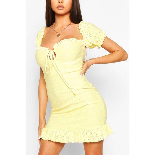 boohoo Womens Mini-Kleid Mit Lochstickerei Und Puffärmeln - Zitronengelb - 38, Zitronengelb