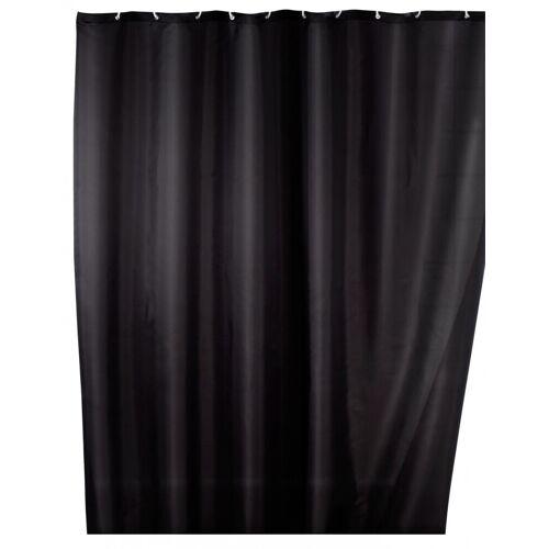WENKO Anti-Schimmel Duschvorhang Uni Black, 180 x 200 cm, waschbar