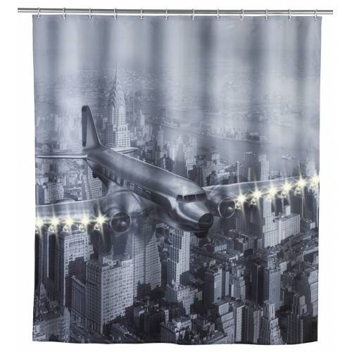 WENKO LED Duschvorhang Old Plane, 180 x 200 cm, waschbar