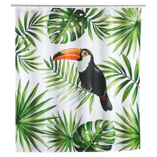 WENKO Duschvorhang Tucan, Polyester, 180 x 200 cm, waschbar